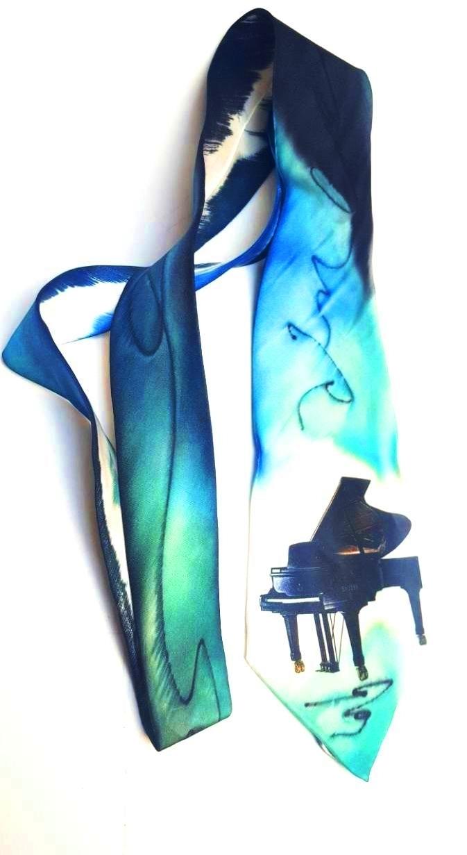 El Yapımı İpek Kravat - Piyano Desenli