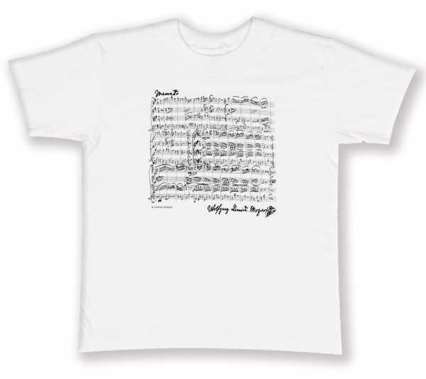 Mozart Notalı ve İmzalı Tişört - Beyaz M