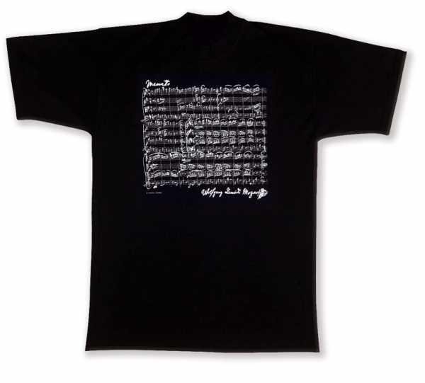 Mozart Notalı ve İmzalı Tişört - Siyah S