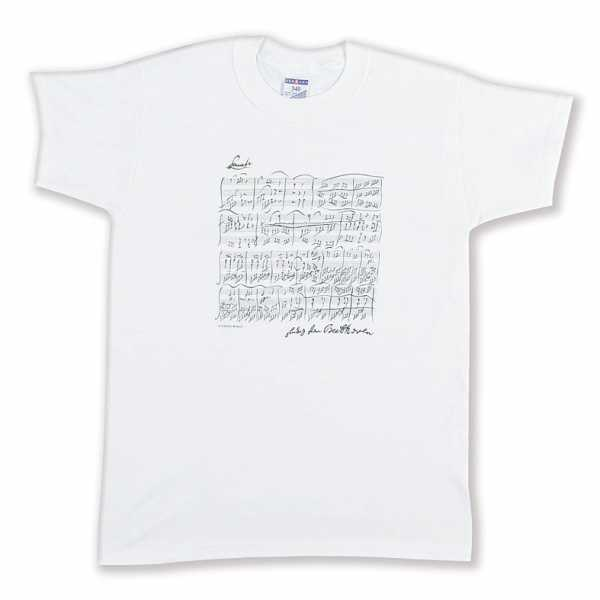Beethoven Notalı ve İmzalı Tişört - Beyaz L
