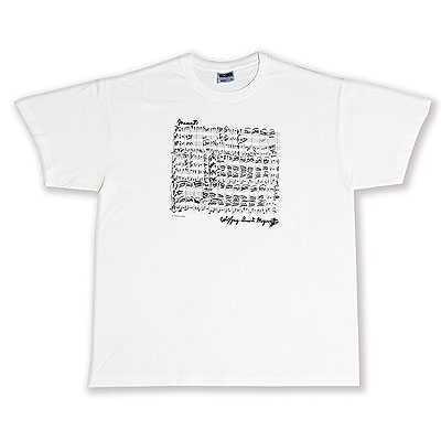 Mozart Notalı ve İmzalı Tişört - Beyaz S - Thumbnail